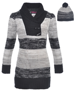 "Dollhouse Big Girls' ""Shawl Contrast"" Sweater Dress with Hat (Sizes 7 – 16) - CookiesKids.com"