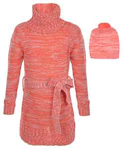 "Dollhouse Little Girls' ""Turtleneck Sparkle"" Sweater Dress with Hat (Sizes 4 – 6X) - CookiesKids.com"