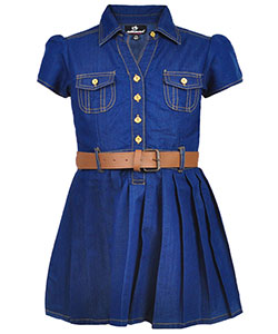 "Dollhouse Little Girls' ""Cool Chambray"" Belted Dress (Sizes 4 – 6X) - CookiesKids.com"