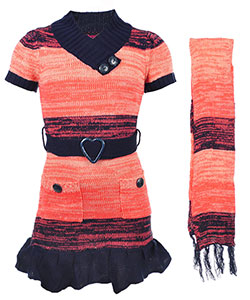 "Dollhouse Big Girls' ""Sunset Gradient"" Sweater Dress with Scarf (Sizes 7 – 16) - CookiesKids.com"