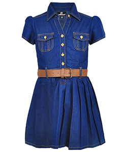 "Dollhouse Big Girls' ""Cool Chambray"" Belted Dress (Sizes 7 – 16) - CookiesKids.com"