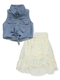 Baby Girls' 2-Piece Skirt Set Outfit by Dollhouse in blue/cream and dark blue/fuchsia