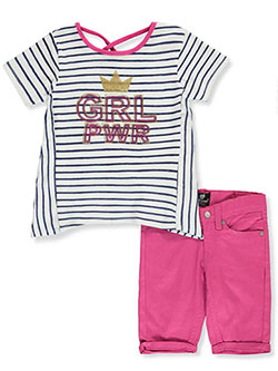 Royal GRL PWR 2-Piece Shorts Set Outfit by Dollhouse in navy/fuchsia and red/black, Girls Fashion