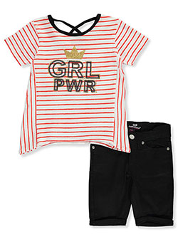 Royal GRL PWR 2-Piece Shorts Set Outfit by Dollhouse in navy/fuchsia and red/black