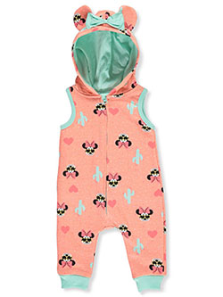 Disney Cool Minnie Mouse Hooded Coverall by Disney Baby in Peach multi, Infants