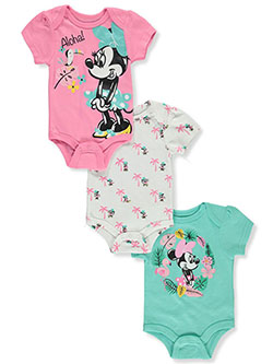Tropical 3-Pack Bodysuits by Disney Minnie Mouse in Pink/mint