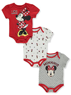 Baby Girls' 3-Pack Bodysuits by Disney Minnie Mouse in Red/gray