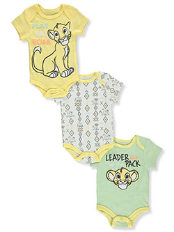 Disney Lion King Baby Boys' 3-Pack Bodysuits by Disney The Lion King in Yellow/lime
