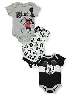 Baby Boys' 3-Pack Bodysuits by Disney Mickey Mouse in Black/white