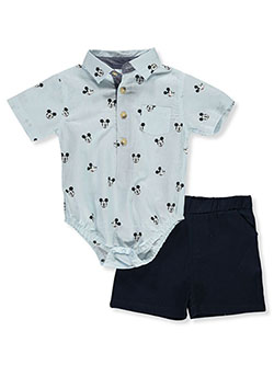 2-Piece Shorts Set Outfit by Disney Mickey Mouse in White/multi