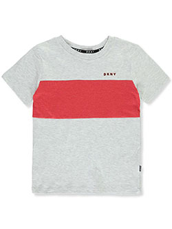 Boys' Stripe Panel T-Shirt by DKNY in black heather and cherry heather