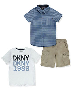 Boys' Repeat 3-Piece Shorts Set Outfit by DKNY in Khaki