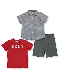 Line Break 3-Piece Shorts Set Outfit by DKNY in Castle rock