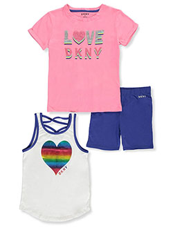 Glitter and Rainbows 3-Piece Shorts Set Outfit by DKNY in Multi