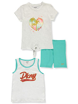 Tropical Summer Glitter 3-Piece Bike Shorts Set Outfit by DKNY in White