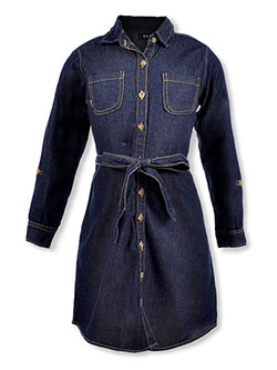 Girls' L/S Denim Shirt-Dress by DKNY in dark blue and light wash