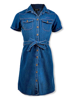 Girls' S/S Denim Shirt-Dress by DKNY in Medium blue