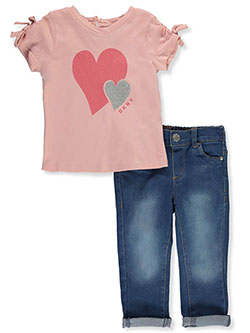 Heart Pair 2-Piece Jeans Set Outfit by DKNY in Light heather