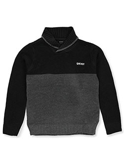 Boys' 2-Tone Cowl Neck Sweater by DKNY in caviar and dark charcoal