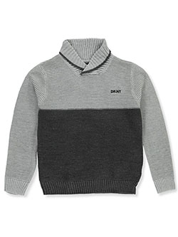 Boys' 2-Tone Cowl Neck Sweater by DKNY in Dark charcoal