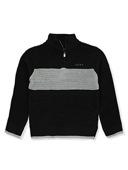 Boys' Ribbed Zip-Neck Sweater by DKNY in Caviar
