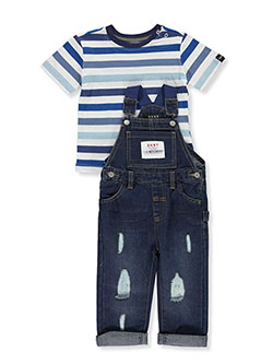 Stripe T-Shirt 2-Piece Overalls Set Outfit by DKNY in Medium blue