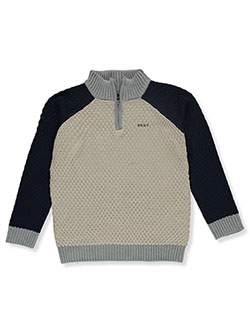 Boys' Cable Zip Collar Sweater by DKNY in Oatmeal