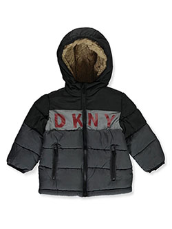 Baby Boys' Chest Logo Insulated Parka by DKNY in Charcoal/black