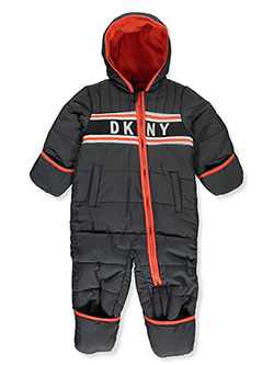 Baby Boys' Logo Stripe Insulated Pram Suit by DKNY in charcoal and navy/lime