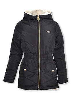 Girls' Gold Hardware Insulated Parka by DKNY in cream/black and dusty rose, Girls Fashion