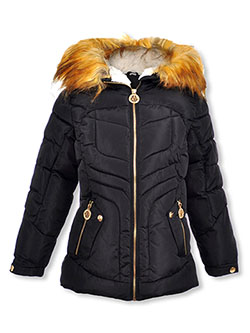 Girls' Curve Baffle Insulated Parka by DKNY in black and red, Girls Fashion