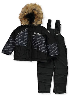 Baby Boys' Angle Panel 2-Piece Snowsuit by DKNY in black and navy - Snowsuits