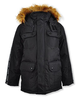 Boys' Logo Taping Insulated Parka by DKNY in Black, Boys Fashion