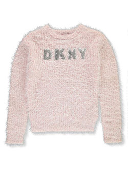 Girls' Mohair Look Sequin Logo Sweater by DKNY in Pink