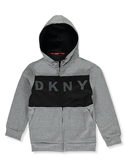 Boys' Paneled Bold Zip Hoodie by DKNY in Medium heather gray