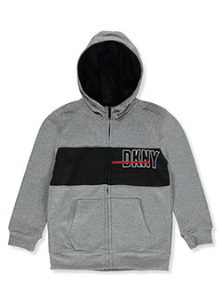Boys' Paneled Official Zip Hoodie by DKNY in Medium heather gray