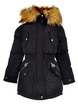 Girls' Zipper Charm Insulated Parka by DKNY in black, dusty rose and sand