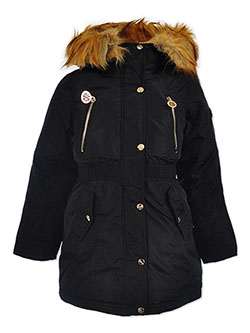 Girls' Chest Zip Insulated Parka by DKNY in black, fuchsia and olive