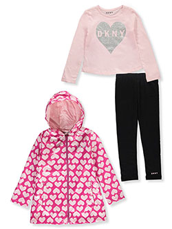 Heart Print 3-Piece Leggings Set Outfit by DKNY in Rose violet