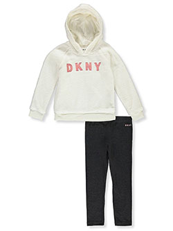 Flip Sequin Text 2-Piece Leggings Set Outfit by DKNY in Off white