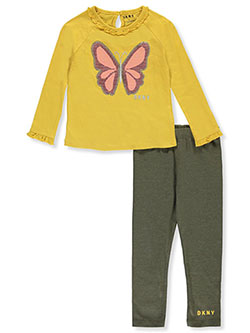 Sequin Butterfly 2-Piece Leggings Set Outfit by DKNY in Mustard, Girls Fashion