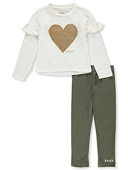 Sequin Heart 2-Piece Leggings Set Outfit by DKNY in Off white