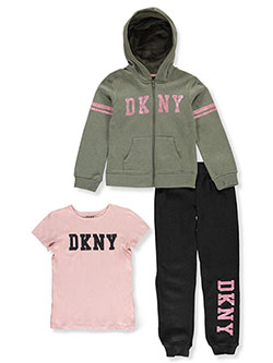 Girls' Collegiate 3-Piece Joggers Set Outfit by DKNY in Dark olive, Girls Fashion