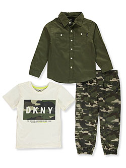 Boys' 3-Piece Joggers Set Outfit by DKNY in Olive