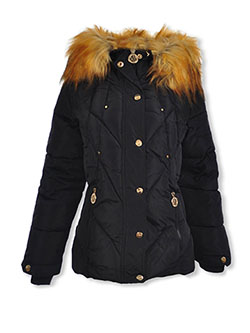 Girls' Metallic Snap Insulated Parka by DKNY in black and blush