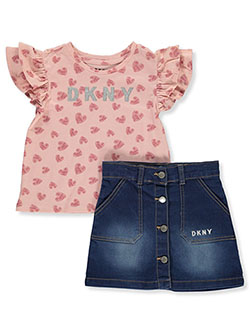 Girls' 2-Piece Skirt Set Outfit by DKNY in Pink/silver
