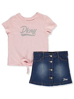 Girls' 2-Piece Skirt Set Outfit by DKNY in Pink