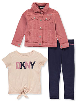 Girls' 3-Piece Leggings Set Outfit by DKNY in Dusty rose