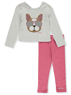 Girls' 2-Piece Leggings Set Outfit by DKNY in Light heather