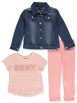 Girls' 3-Piece Leggings Set Outfit by DKNY in Blue